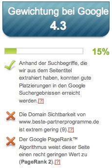 Seitwert.de - Google Faktoren